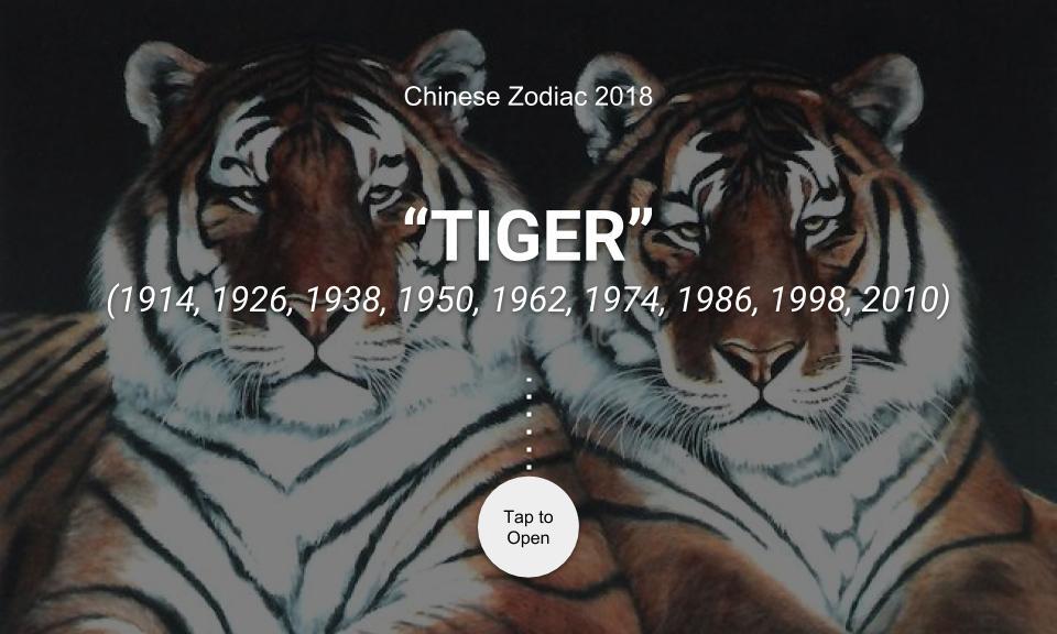 Chinese Zodiac 2018: TIGER