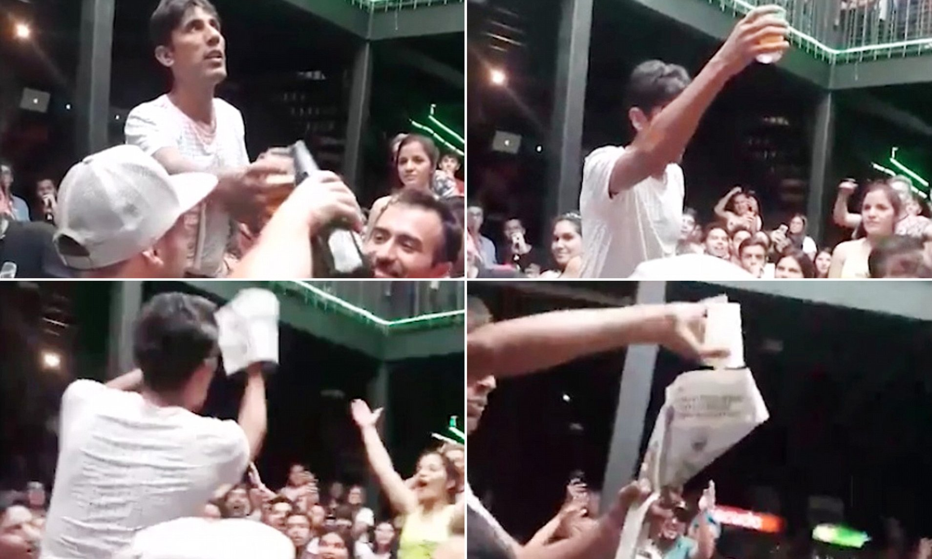 Guy makes beer disappear/reappear…